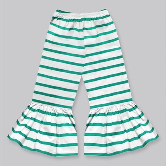 Girls Green Stripe Boho Ruffle Pants